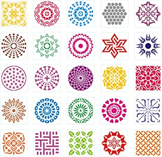 Outivity 25 Pack (6 x 6 Inch) Painting Drawing Mandala Stencils Template for Stones Floor Wall Tile Fabric Wood Burning Ar...