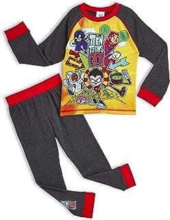 Teen Titans Go! Pijama para Niños Invierno, con Superhéroes Beast Boy Cyborg Starfire Robin Raven, Ropa de Dormir con Cami...