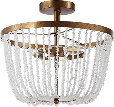 Top Lighting 4 Light Chrome Finish Round Metal Shade Crystal Chandelier Flush Mount Ceiling Fixture