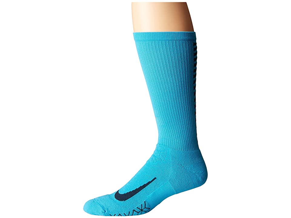 Nike Elite Running Cushion Crew Socks (Chlorine Blue/Armory Navy) Crew Cut Socks Shoes