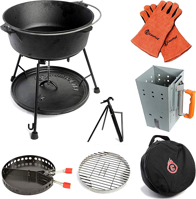 CampMaid All Grill Tools Kit Lid Lifter Flip Grill Charcoal Holder Kick Stand And Chimney Dutch Oven Not Included Versatile And Portable Grill Set Perfect For Outdoor Cooking Activities