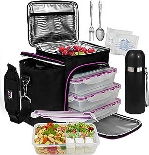 A2S Complete Meal Prep Lunch Box – 8 Pcs Set: Cooler Bag 3X Portion Control Bento..