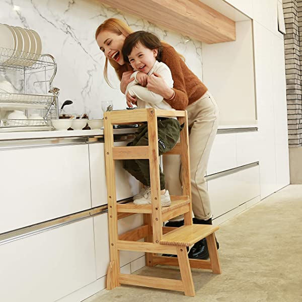 SDADI Adjustable Height Kitchen Step Stool Kids Learning Stool Mothers Helper LT05N
