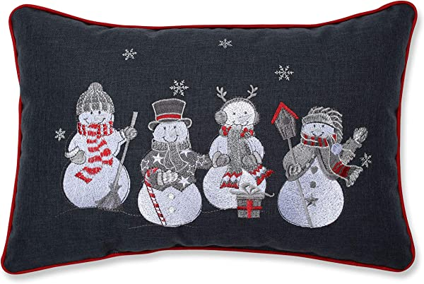 Pillow Perfect Christmas Frosty Friends Embroidered Lumbar Decorative Pillow 12 X 18 Gray White Silver