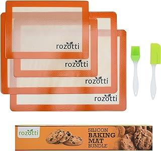 Rozotti Silicone Baking Mat Bundle (6-Piece Set) 2 Half Sheets Silicone Baking Mat and 2 Quarter Sheets Silicone Baking Mat, Silicone Baking Brush, Silicone Baking Spatula   Non-Stick, Heat-Resistant