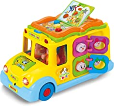 Interactive Yellow School Bus Musical Activity Toy Vehicle with Lights, Sounds & Music for Toddlers