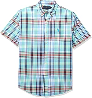 U.S. Polo Assn. Men's Short Sleeve Plaid Woven Shirt