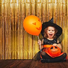 Foil Fringe Curtain (SET of 2) Stunning Gold Backdrop - Perfect Photo Booth Props - Fun Tinsel Curtains for Halloween, Bachelorette Party, Birthday Decorations, Graduation, Christmas & New Years Eve
