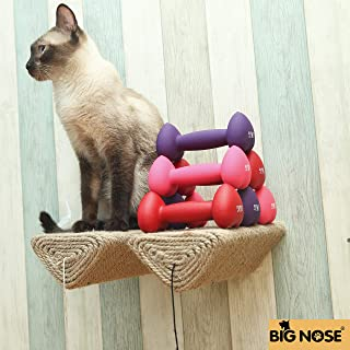 BIG NOSE - Cat Scratching Post with Leaser Feather and Fluffly Ball Wall Mount Shelves and Steps Sturd Wall Version