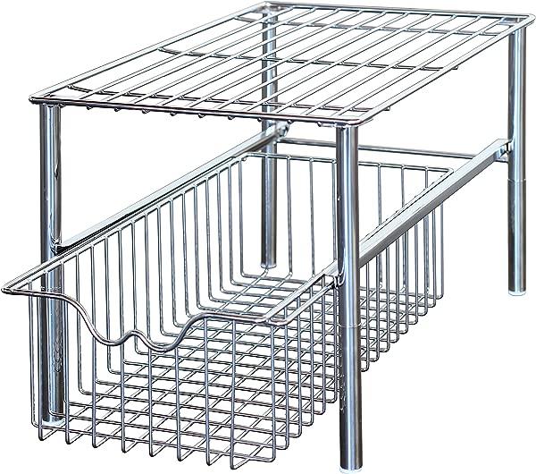 DecoBros Stackable Under Sink Cabinet Sliding Basket Organizer Drawer Chrome