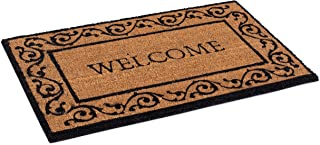 BIRDROCK HOME Welcome Coir Doormat with Scroll Border - 18 x 30 Inch - Standard Welcome Mat with Black Decorative Border -...