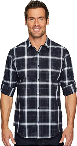 Blown-Up Plaid Roll-Up Button Down Shirt