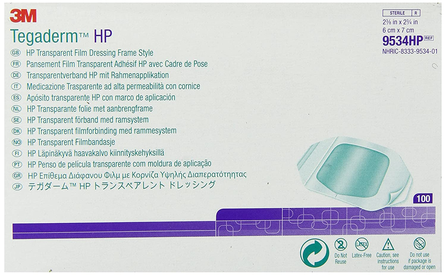 3M Tegaderm HP Transparent Film 4 years warranty Frame Dressing Product Style 9534HP