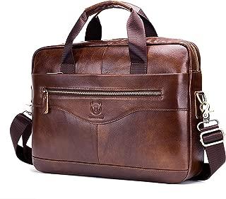 Men's Shoulder Bag, Popoti Leather Handbag Bag Briefcase Grand Laptop Bag School Bag Multifunctional Vintage Crossbody Messenger Bag (39X9X29CM, Brown)
