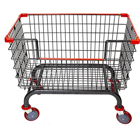 """CART&SUPPLY Coin Laundry Cart, [Heavy Duty] [Rolling Cart] 6.0 Bushel Large Capacity Laundry Cart with 5"""" Caster (Charcoal Gray-Red) Without Pole Rack"""