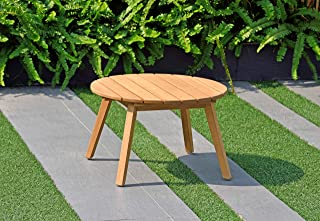 Amazonia Ashland Patio Round Side Table   Durable Eucalyptus with Teak Finish   Ideal for Indoors and Outdoors, Light Brown