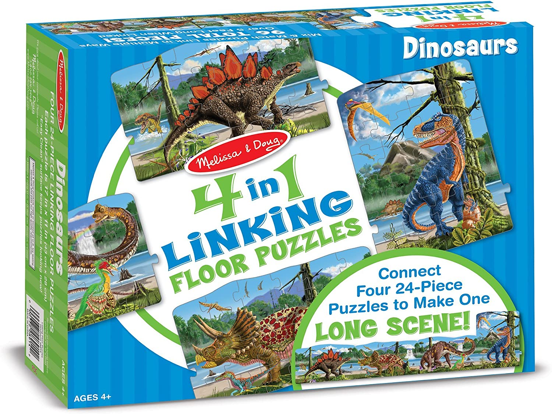 Melissa & Doug Dinosaurs 4-in-1 Jumbo Linking Jigsaw Floor Puzzle (96 pcs, 5 feet long)
