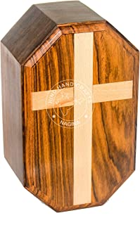 Hind Handicrafts Urns for Human Ashes Adult, Rosewood Cremation Urns for Ashes, Funeral Urns, Burial Urns for Columbarium, Wooden Box Urns for Human Ashes - Large URNS Ashes (Maple Cross - 250 Cu/in)
