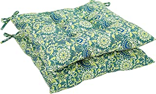 AmazonBasics Tufted Outdoor Square Seat Patio Cushion - Pack of 2, Blue Flower