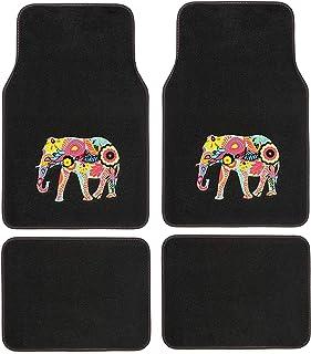 comprar comparacion SUMEX PLUSHG1 Alfombra para Coche Universal de Moqueta, de Color Negra, Antideslizante y con Dibujo de Elefante en Relieve