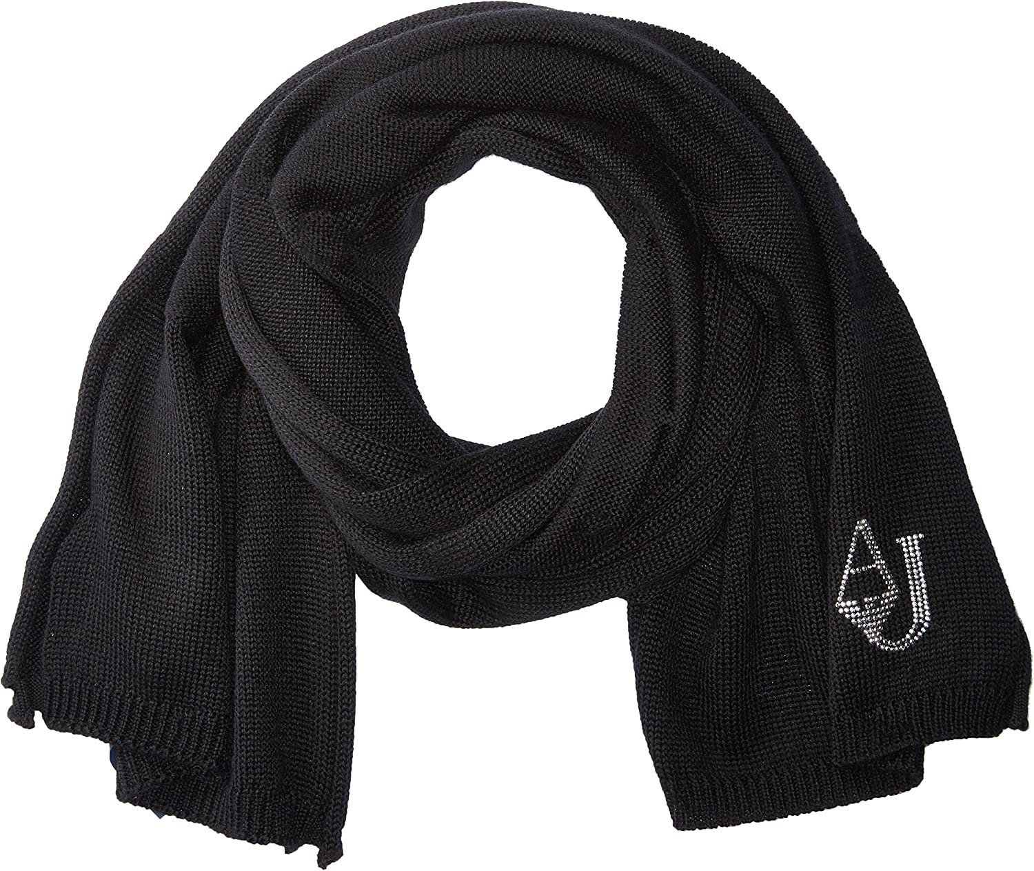 ARMANI JEANS womens Knit Scarf With Logo Winter Scarve