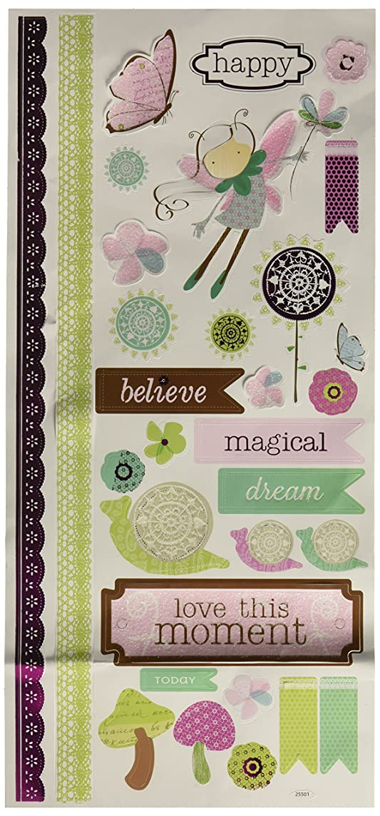 Momenta 25501 Fairy Forest Love This Moment Little Yellow Bicycle Vellum Stickers, Multicolor