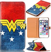 SunshineCase(TM) iphone 7 Case - Female Super Hero Logo Pattern Slim Wallet Card Flip Stand PU Leather Pouch Case Cover For Apple iphone 7 New Arrival - Cool as Great Gift