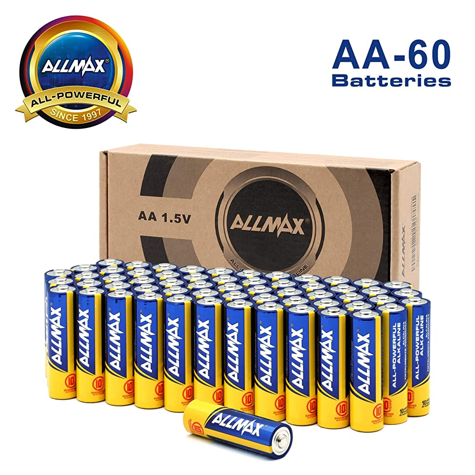 ALLMAX AA Batteries (60-Bulk Pack), Double A 1.5 Volt All-Powerful Alkaline Battery, Ultra Long Lasting and Leak-Proof