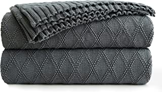 Longhui bedding Large Charcoal Grey Cotton Knit Throw Blanket for Couch Sofa Bed - Home Decorative Soft Cozy Sweater Woven Fall Cable Oversize Knitted Blankets - Dark Gray 3.4 pounds 60 x 80 Inch