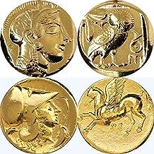 Golden Artifacts Percy Jackson Teen Gift, Athena/Owl /Pegasus, 2 Greek Coins of Athena, Unique Gift, Stocking Stuffer (PJ2+12-G)
