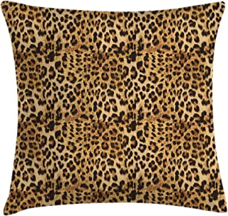 Ambesonne Brown Throw Pillow Cushion Cover, Leopard Print Animal Skin Digital Printed Wild Safari Themed Spotted Pattern Art, Decorative Square Accent Pillow Case, 20