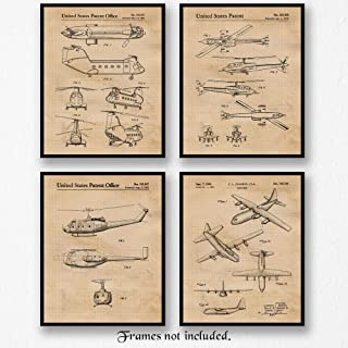 Military Airplane & Helicopter Patent Poster Prints, Set of 4 (8x10) Unframed Photos, Wall Art Decor Gifts Under 20 for Home, Office, Man Cave, College Student, Teacher, US Military & Veterans Fan