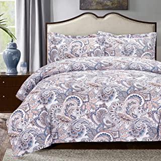 Moonleaf Paisley 3 pc Cotton Printed Bedding Set, 1 Duvet Cover & 2 Pillow Shams with Classic Paisley Pattern. (King)