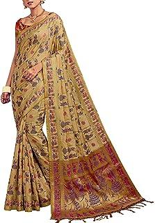 Sarees for Women Banarasi Kanjivaram Art Silk Woven Saree l Indian Ethnic Wedding Gift Sari with Unstitched Blouse