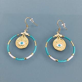 Orecchini etnici greco occhio e perle miyuki, gemma per donna, creoli dorati, gioiello malocchio, regali gioielli, regalo ...