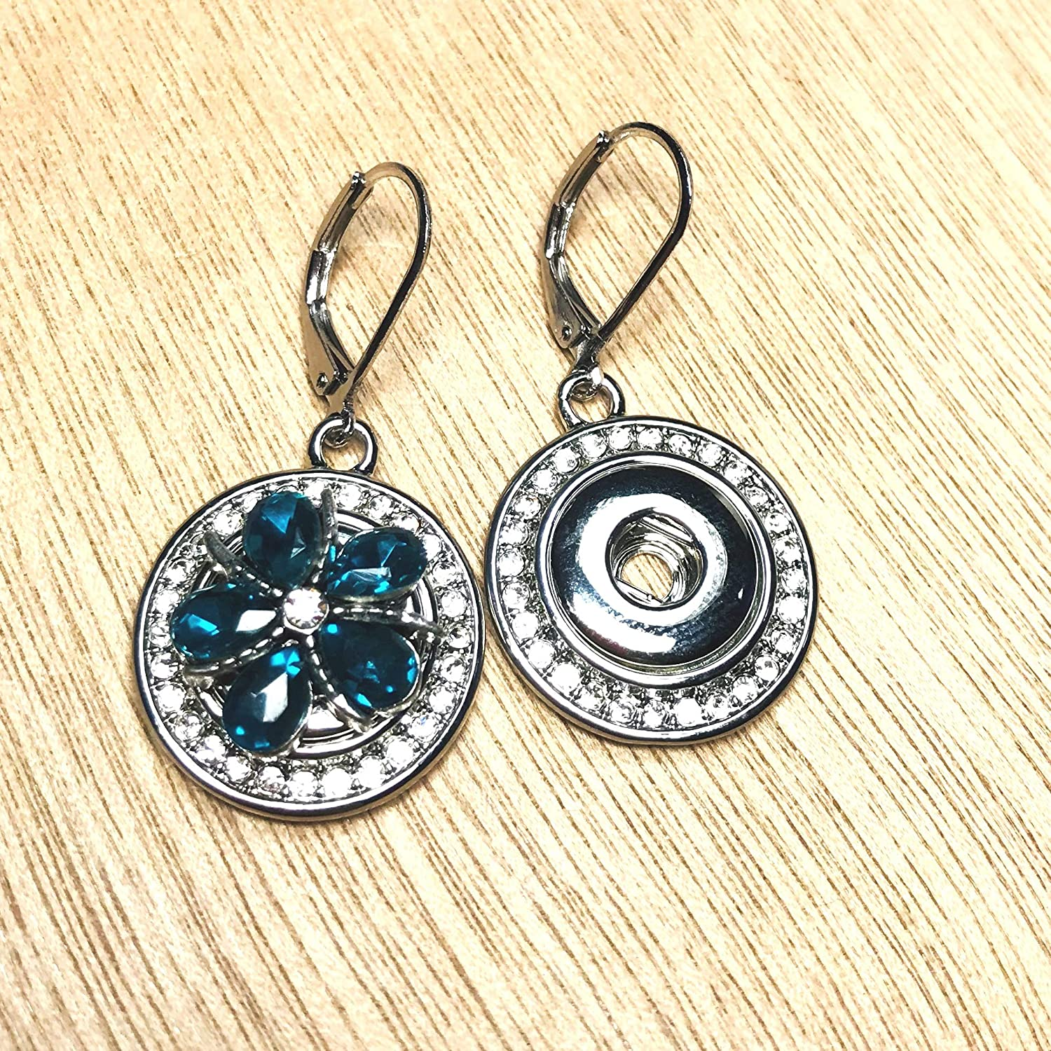 Mini Snap Jewelry Lever back Earrings Rhinestone Halo fits 12mm Petite Ginger Style Charms My Prime Gifts