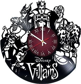 Villains Disney Vinyl Clock - vinyl record wall clock, walt disney clock maleficent the evil queen ursula wall art home kids room wall decor