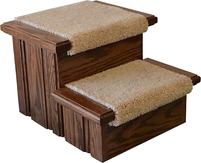 Deep Walnut Finished Solid Oak Step Stool With Carpeted Tread 11 Tall