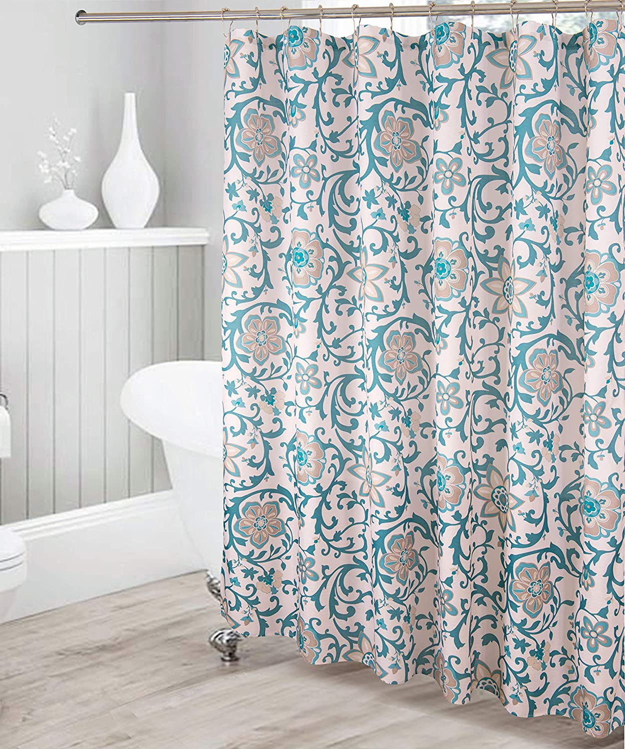 Decorative Bathroom Floral Pattern Waterproof Fabric Shower Curtain Turquoise Green Light Brown Off White with 12 Stainless Steel Roller Hooks for Modern Bathroom New