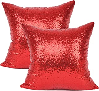 YOUR SMILE Pack of 2 New Luxury Series Red Bling Decorative Glitzy Sequin & Comfy Satin Solid Throw Pillow Cover Cushion Case for Wedding/Christmas 18
