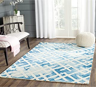 Safavieh Dip Dye Collection DDY677G Handmade Geometric Watercolor Blue and Ivory Wool Area Rug (5' x 8')