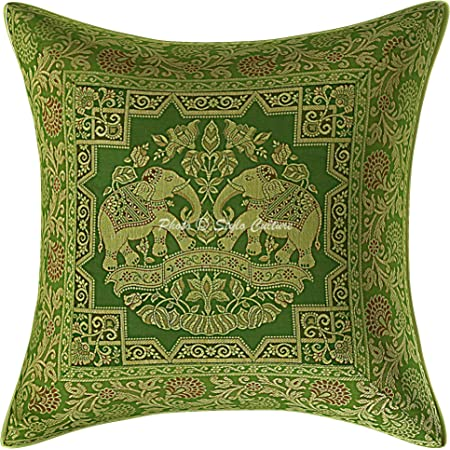 stylo culture ethnic boho brocade olive green and gold throw pillow covers 16x16 jacquard weave banarsi sofa decorative pillow covers for couch
