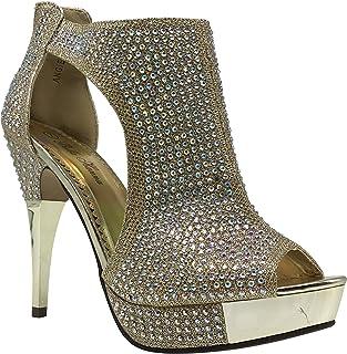 Enzo Romeo Angie04 Womens Open Toe High Heel Wedding Rhinestone Rear Zipper Open  Toe Sandal Wedge 93b86e22a03d