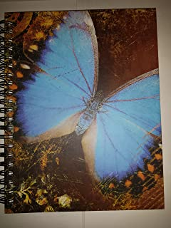 Wire-o Journal - Blue Butterfly - ..Large ( Lined both sides - Black wire-o )