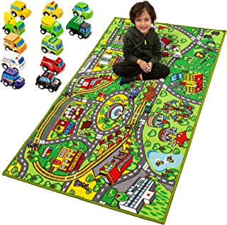 Carpet Playmat w/ 12 Cars Pull-Back Vehicle Set for Kids Age 3+, Jumbo Play Room Rug, City Pretend Play