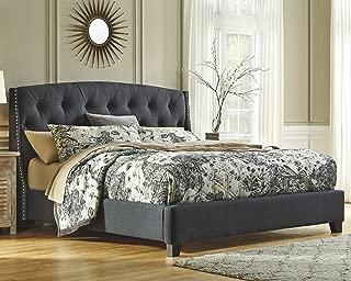 Ashley Furniture Signature Design - Kasidon Contemporary Upholstered Tufted Bedset - California King Size Bed - Dark Gray