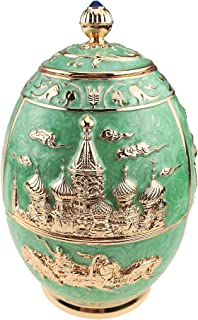 Royal Russian Style Tea Canister Engrave Castle Pattern Tin Metal Tea Container for Loose Tea Tea Jar Art Craft Ornament Home Decor (green,castle and horse)