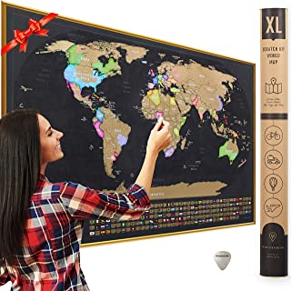 XL Scratch Off Map of The World with Flags - Made in Europe 36 x 24
