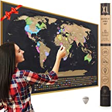 """XL Scratch Off Map of The World with Flags - Made in Europe 36 x 24"""" Large Scratch Off World Map Poster with US States & Flags - Deluxe Travel World Map Scratch Off, Travel Decor, Gift for Travelers"""