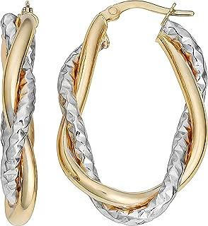 10k Gold Diamond-cut and Polish Intertwined Double Oval Hoop Earrings